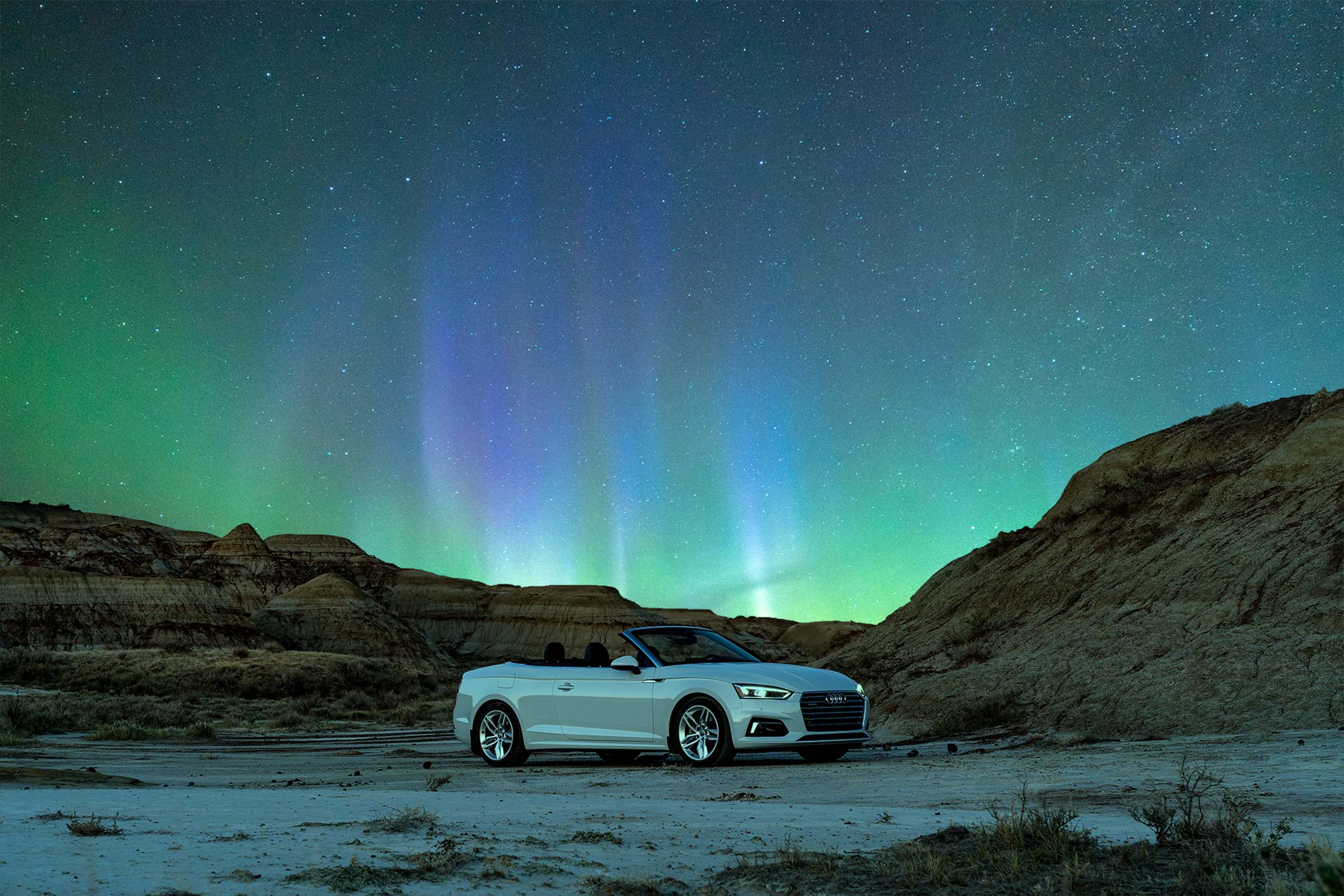 Audi A5 Cabriolet Under Aurora Alberta Canada Karl Lee Car Photographer
