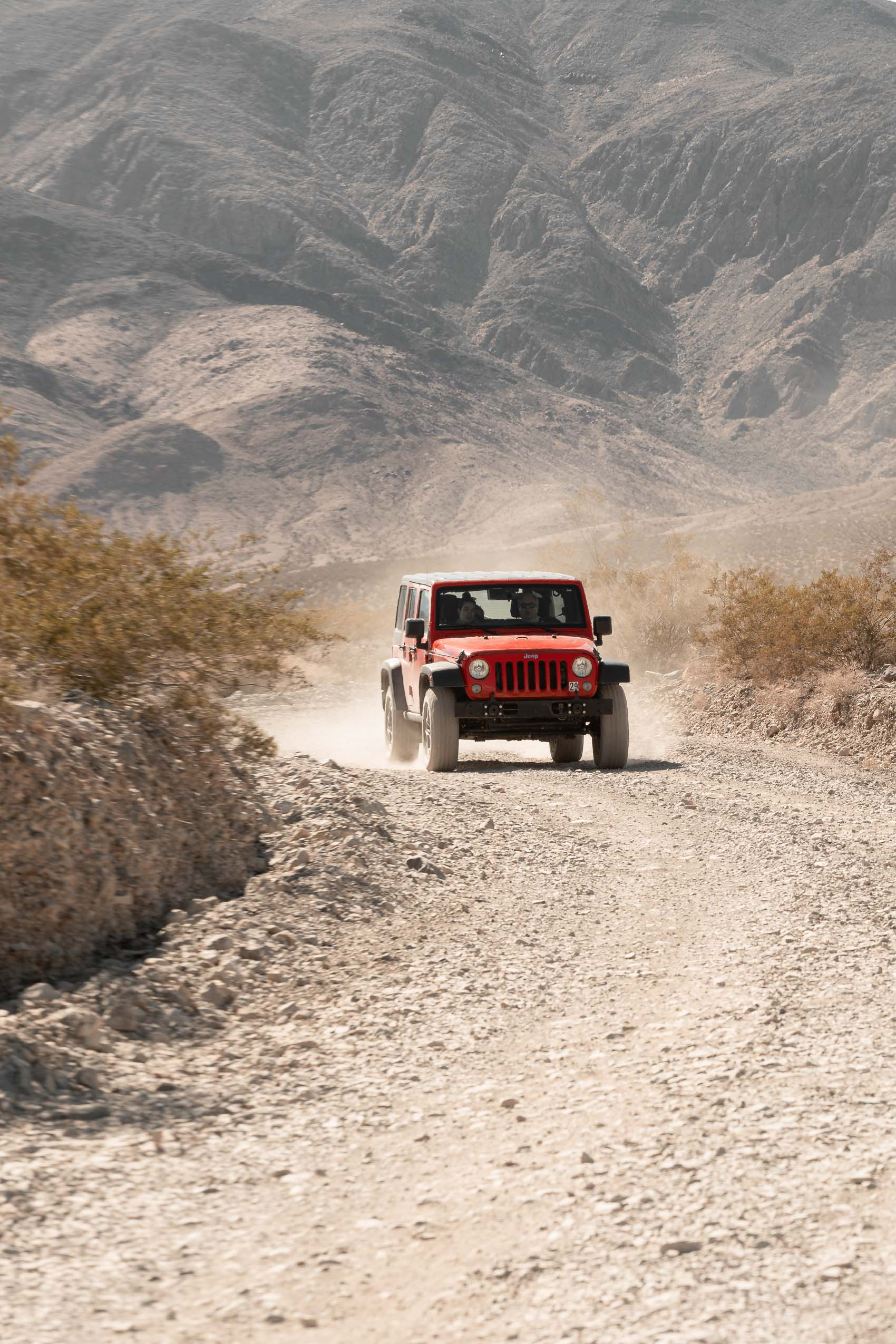 Jeep Wrangler on dirt road Death Valley California