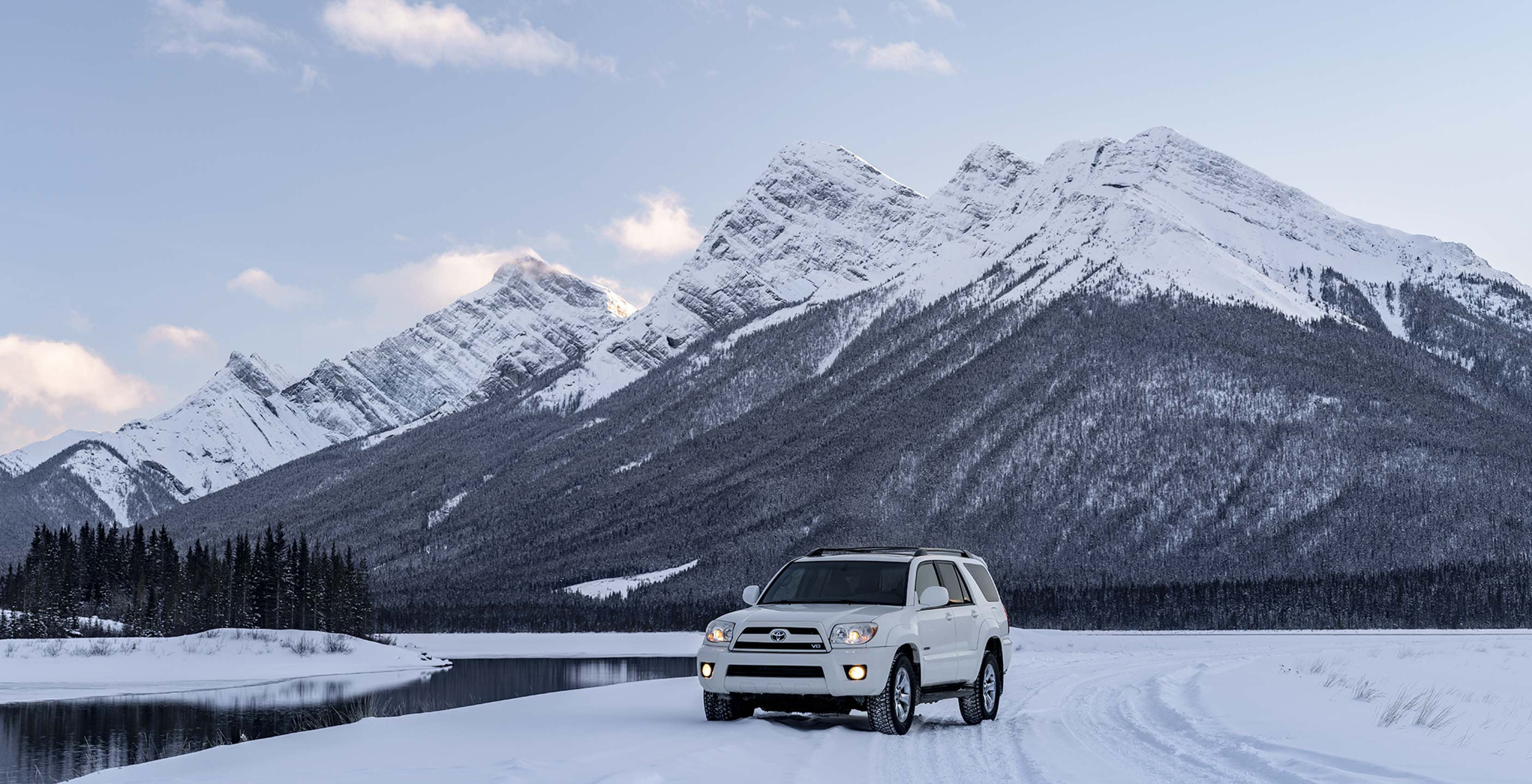 Toyota 4 runner winter at spray lakes Canmore Kananaskis Alberta Car photographer