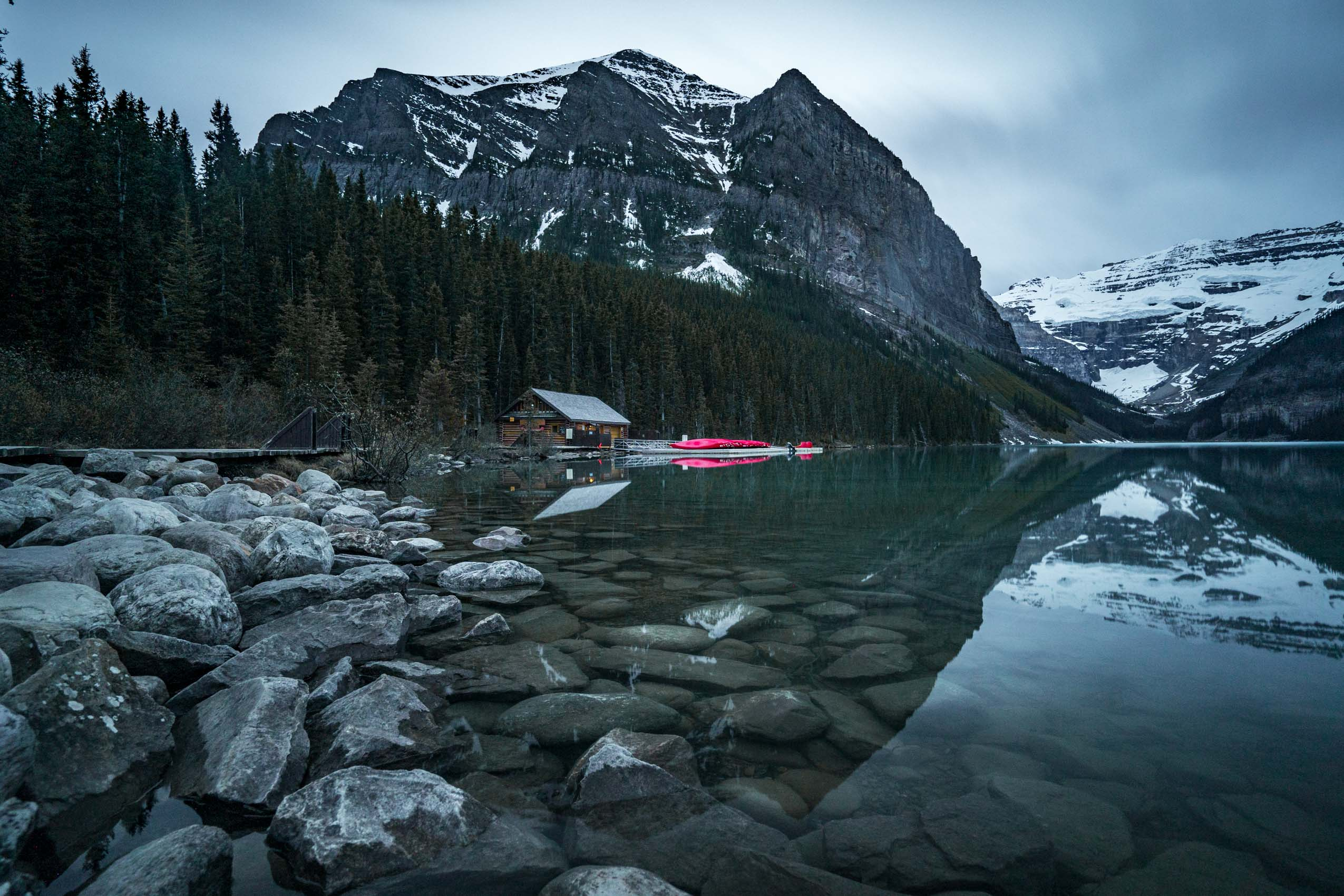 Lake Louise boathouse from Lake Louise shore Alberta Canada