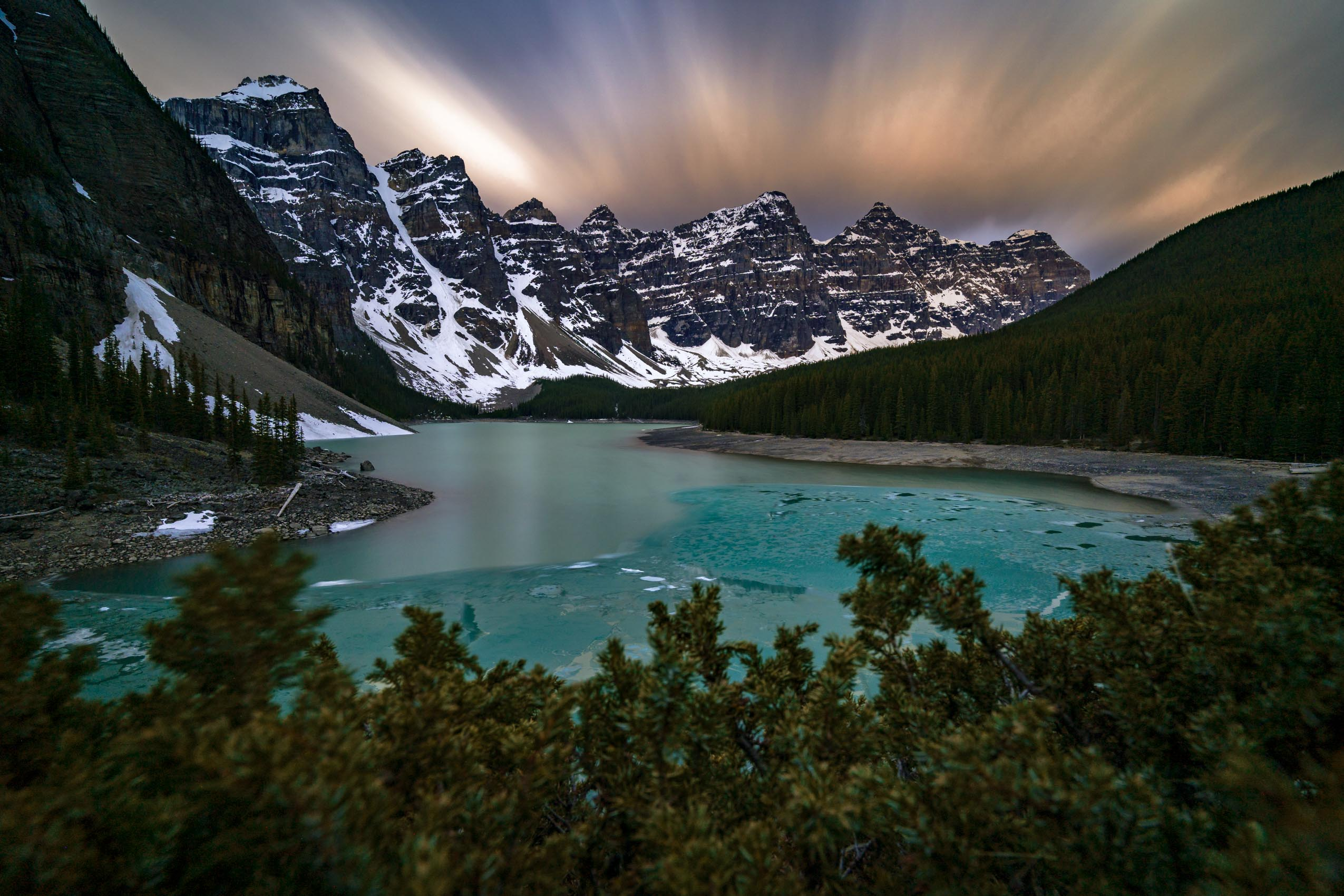 Early June sunrise at Moraine Lake Banff National Park Alberta Canada